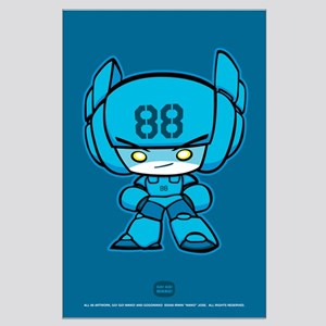 Blue Robot 88 on Blue Large Poster