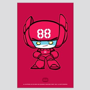 Red Robot 88 on Red Large Poster