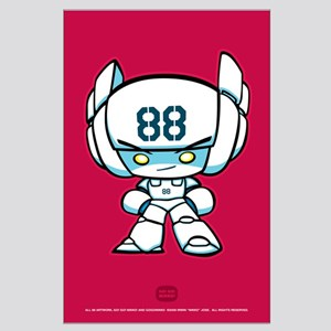 White Robot 88 on Red Large Poster