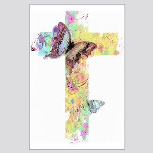 Pastel floral cross and butterflies Posters