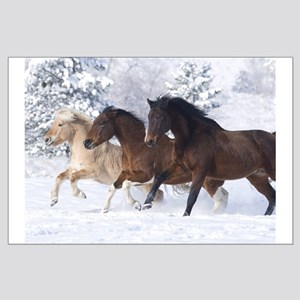 Horses Running In The Snow Large Poster