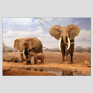 Family Of Elephants  Large Poster