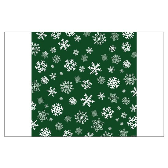 Snowflakes Green Background