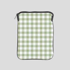 Sage Green Gingham Checked Pattern iPad Sleeve