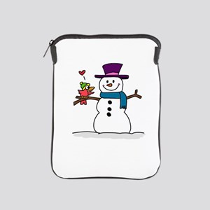 Snowman bird love christmas iPad Sleeve