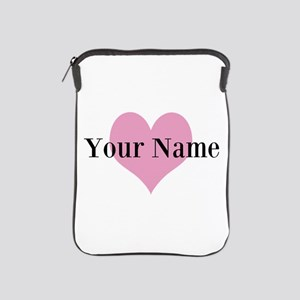 Pink heart and personalized name iPad Sleeve