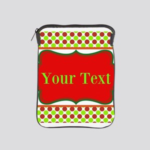 Personalizable Red and Green Polka Dots iPad Sleev
