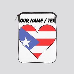 Custom Puerto Rico Flag Heart iPad Sleeve