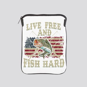 Live Free and Fish Hard Patriotic Fish iPad Sleeve