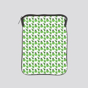 Green Ladybugs and Green Flowers iPad Sleeve