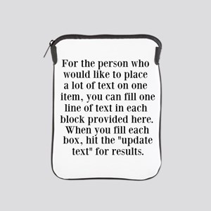 Lines of Text to Personalize iPad Sleeve