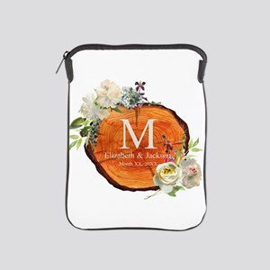 Floral Wood Wedding Monogram iPad Sleeve