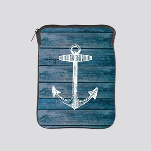 Anchor on Blue faux wood graphic iPad Sleeve