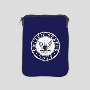 US Navy Emblem Blue White iPad Sleeve