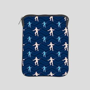 Blue and Tan Chevron Fencing iPad Sleeve