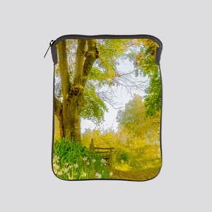 Golden Scene with Tree and Bench iPad Sleeve