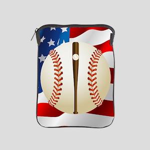 Baseball Ball On American Flag iPad Sleeve