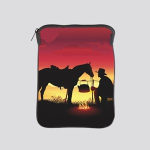 Cowboy and Horse at Sunset iPad Sleeve