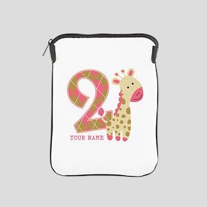2nd Birthday Giraffe Personalized iPad Sleeve