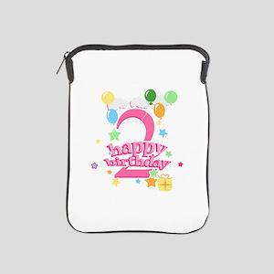 2nd Birthday with Balloons - Pink iPad Sleeve