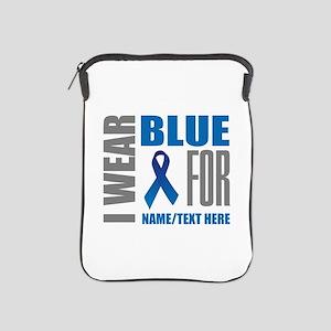 Blue Awareness Ribbon Customized iPad Sleeve