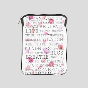 Romantic Rose Petals inspirational words iPad Slee