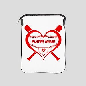 Personalized Baseball Player Heart iPad Sleeve