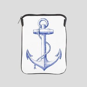 vintage navy blue anchor iPad Sleeve