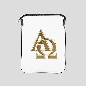"""3-D"" Golden Alpha and Omega Symbol iPad Sleeve"