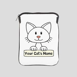 Personalized White Cat iPad Sleeve