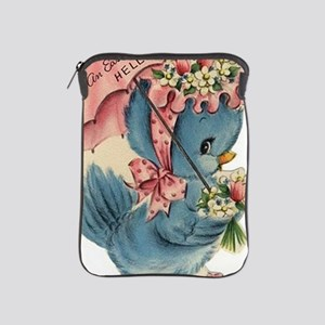 Vintage Easter Blue Bird Bonnet iPad Sleeve