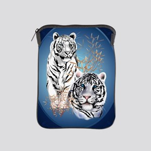 Two White Tigers Oval LargePoster iPad Sleeve