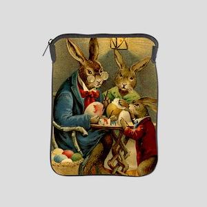 Easter rabbits painting eggs 2 iPad Sleeve