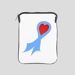 Light Blue Ribbon with Heart iPad Sleeve