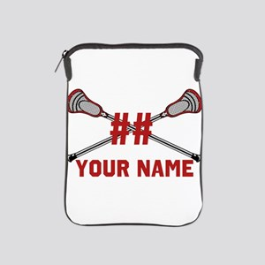 Personalized Crossed Lacrosse Sticks with Red iPad