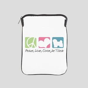 Peace, Love, Coton de Tulear iPad Sleeve