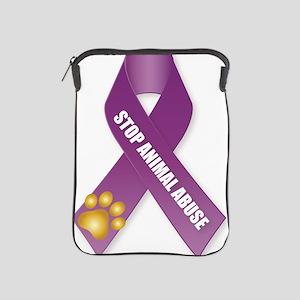 Stop Animal Abuse Ribbon iPad Sleeve