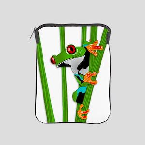 Cute frog on grass iPad Sleeve
