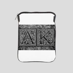 AK initials. Vintage, Floral iPad Sleeve