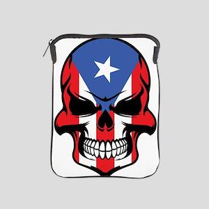 Puerto Rican Flag Skull iPad Sleeve