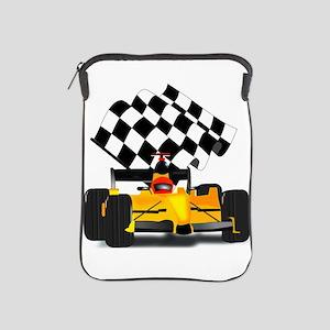 Yellow Race Car with Checkered Flag iPad Sleeve