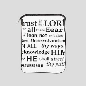 Proverbs 3:5-6 KJV Dark Gray Print iPad Sleeve