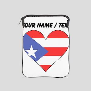 Custom Puerto Rico Flag Heart iPad Sleeve
