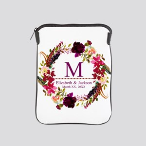Boho Wreath Wedding Monogram iPad Sleeve