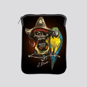 J Rowe Pirate and Parrot Black Backgro iPad Sleeve