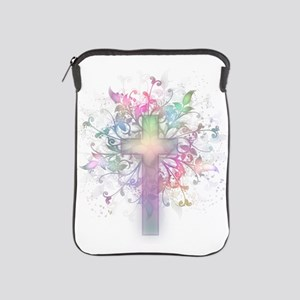 Rainbow Floral Cross iPad Sleeve