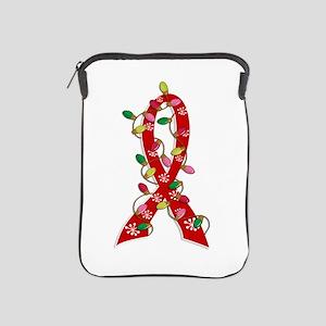 Christmas Lights Ribbon Heart Disease iPad Sleeve