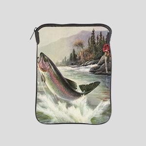 Vintage Fishing, Rainbow Trout iPad Sleeve