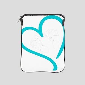 Baby Feet Heart Blue iPad Sleeve