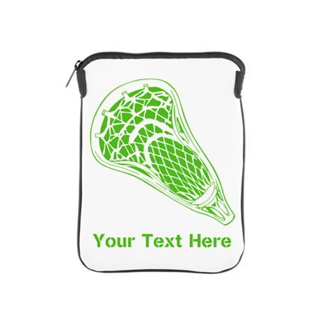 Lacrosse Crosse. Green Text. iPad Sleeve
